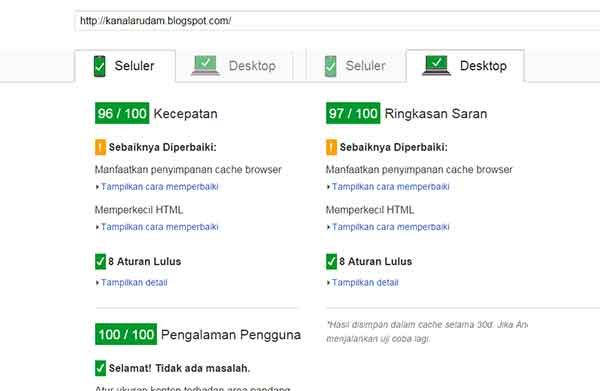 hasil PageSpeed Insights blogspot.com