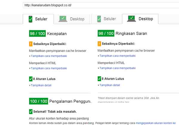 hasil PageSpeed Insights blogspot.co.id