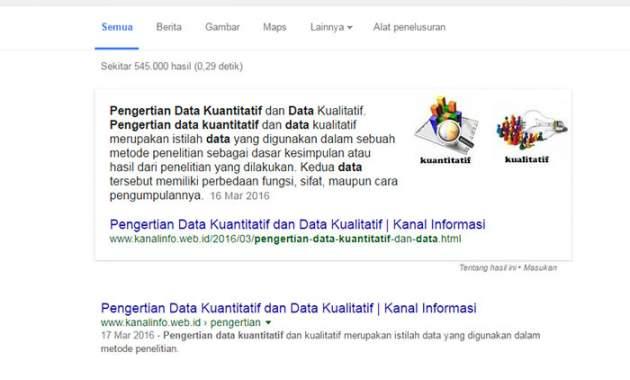 hasil cuplikan unggulan di Google