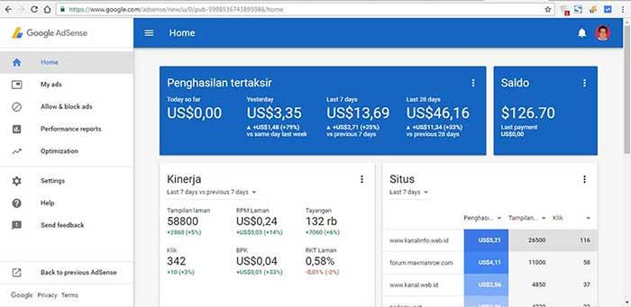 Tampilan Baru Dashboard Google Adsense 2016