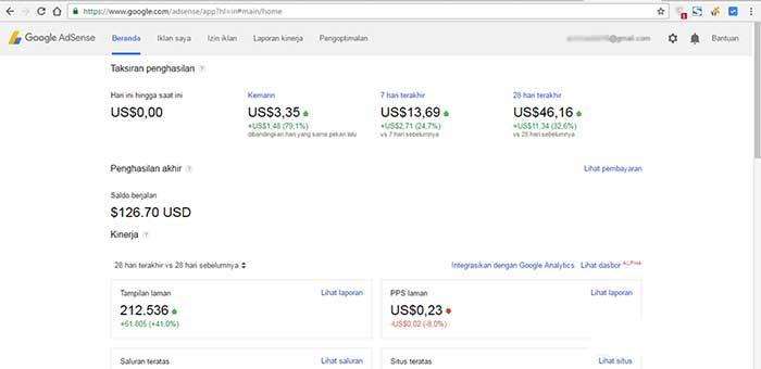 Tampilan dashboard Google Adsense yang lama